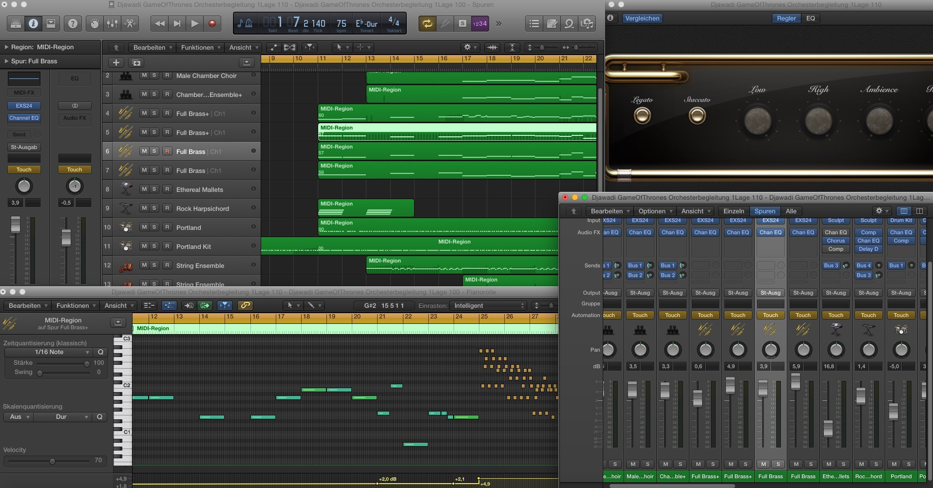 Hier ein Bildschirmfoto von meinem Audiobearbeitungsbereich